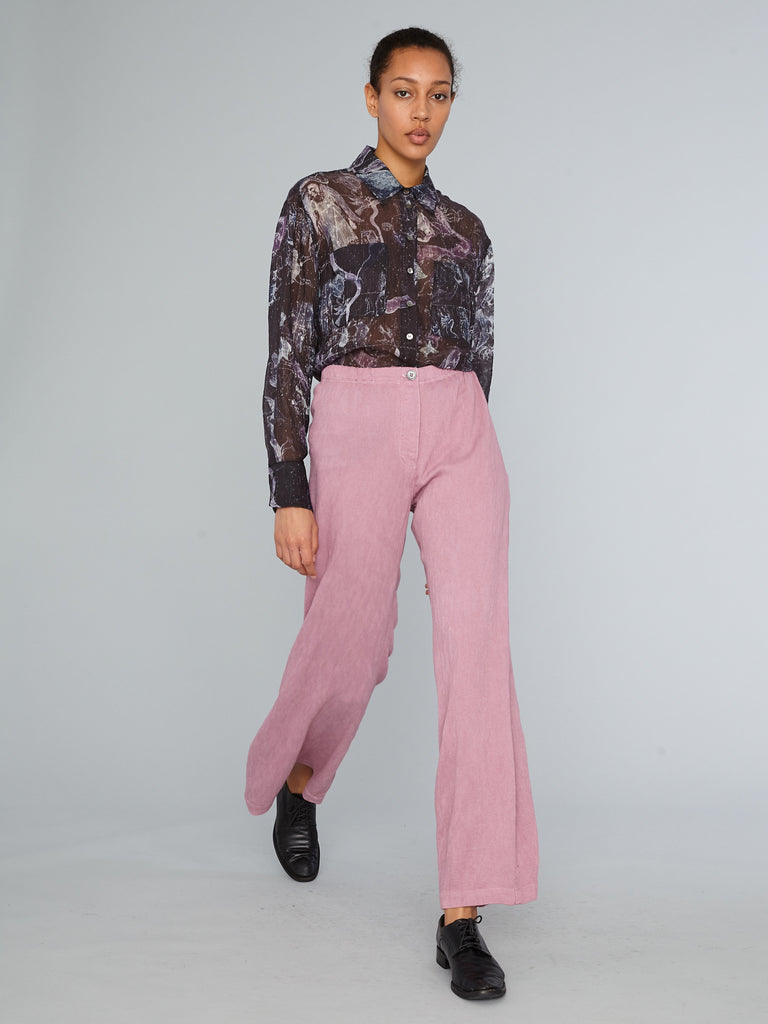 Mauve Pleated Rayon Flared Trouser