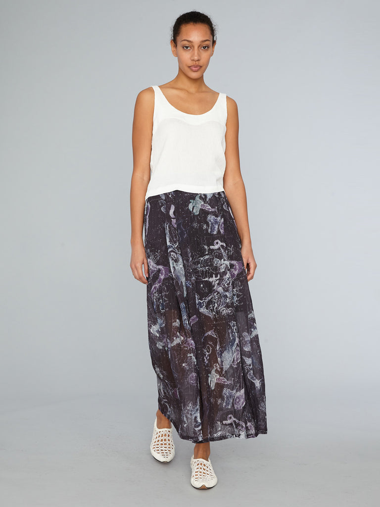 Black Zodiac Maxi Pleated Skirt