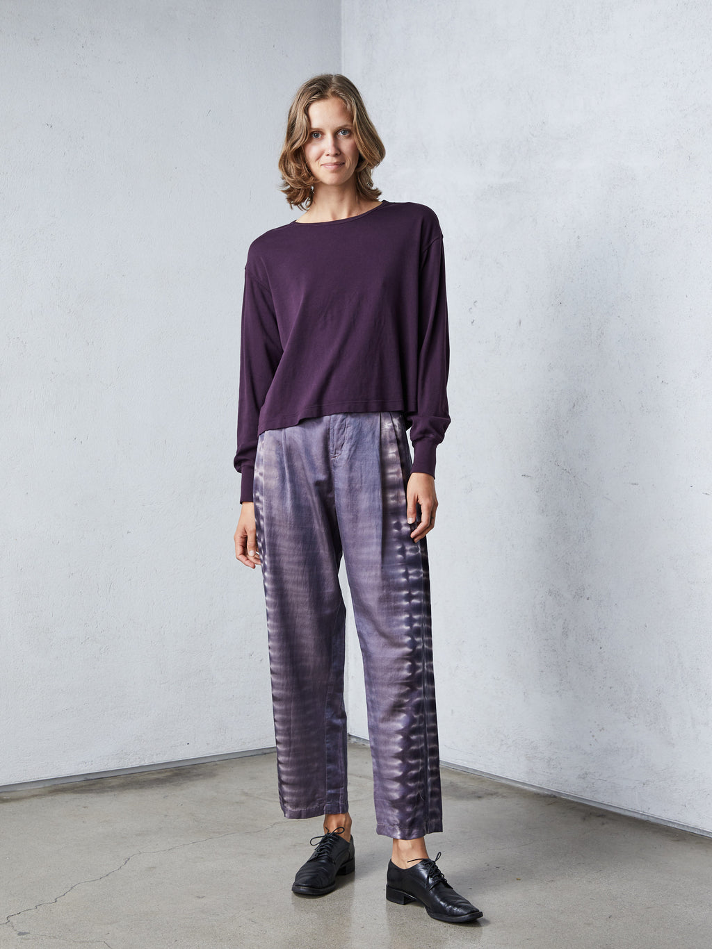 Mauve Silk Cotton Sateen Pleated Pant