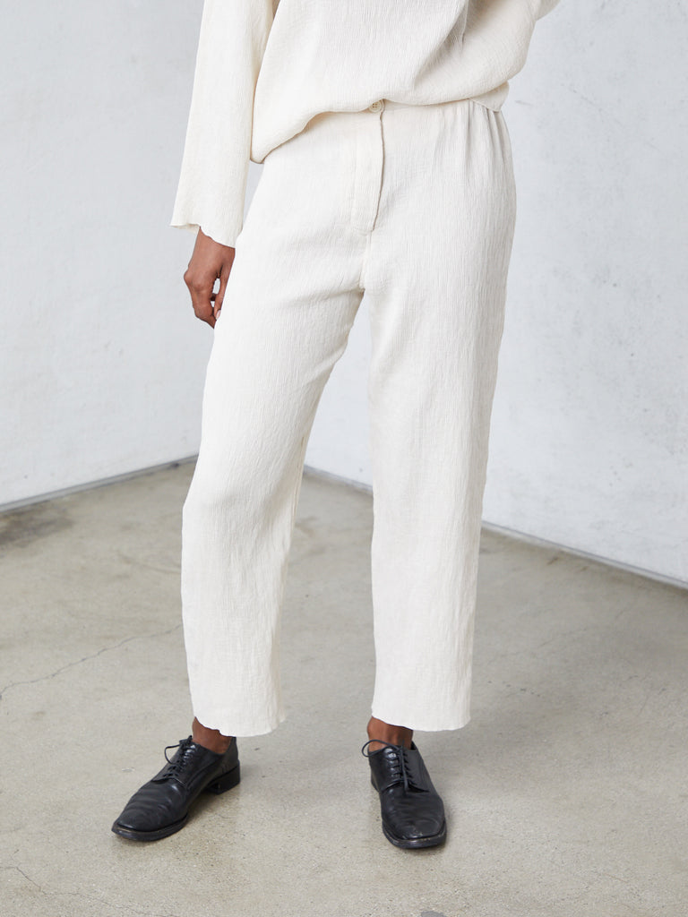 Cream Fortuny Pleats Cropped Pant