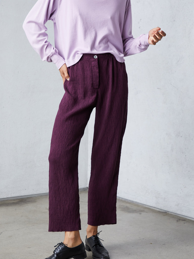 Plum Fortuny Pleats Cropped Pant