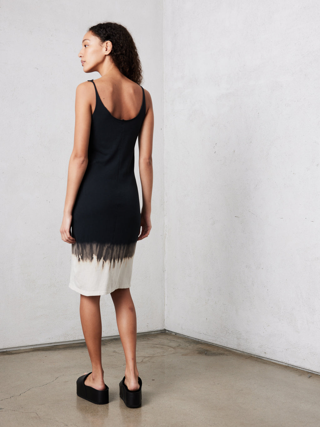 Black Horizon Jersey Layering Tank Dress
