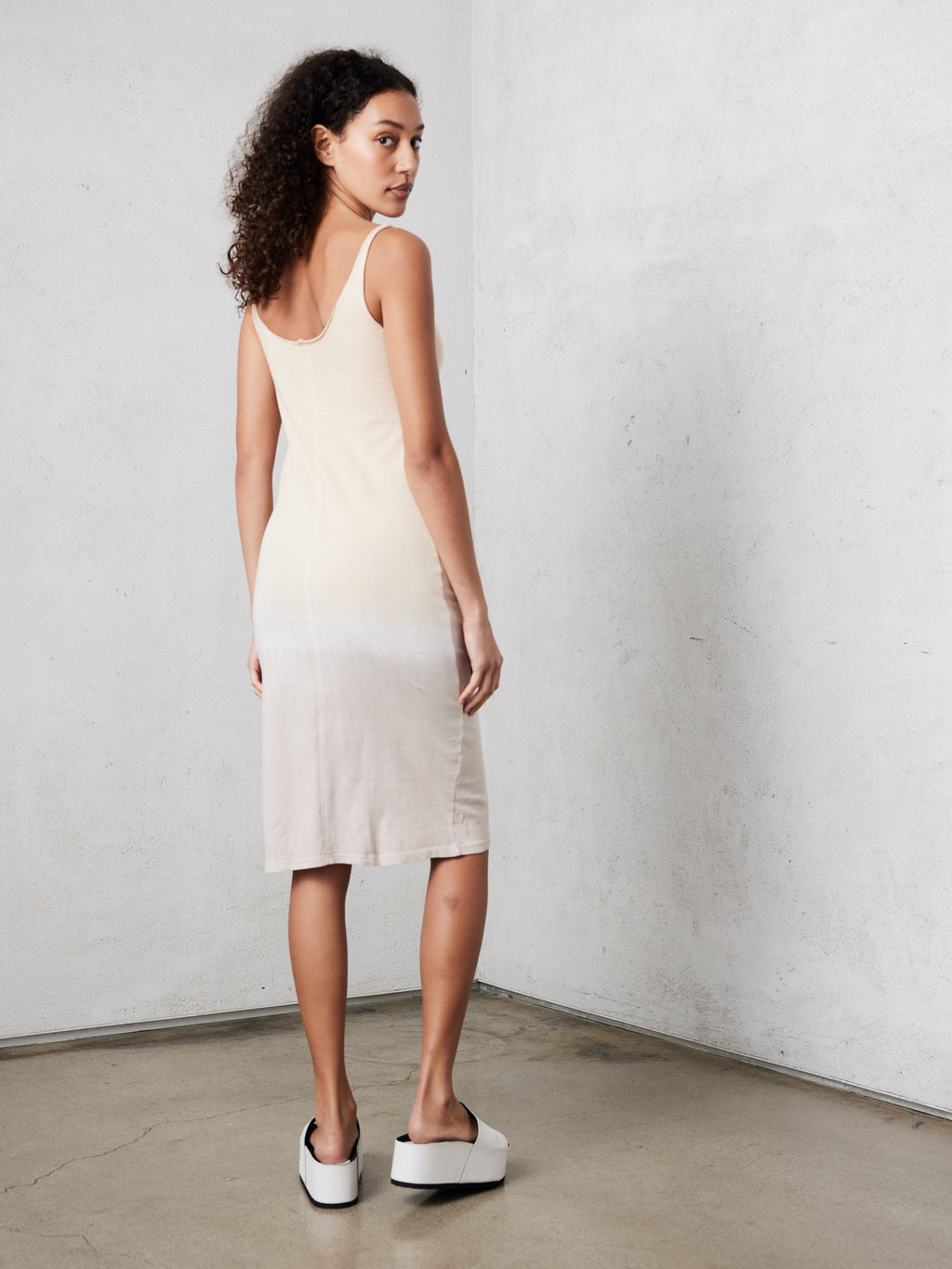 Gold Horizon Jersey Layering Tank Dress