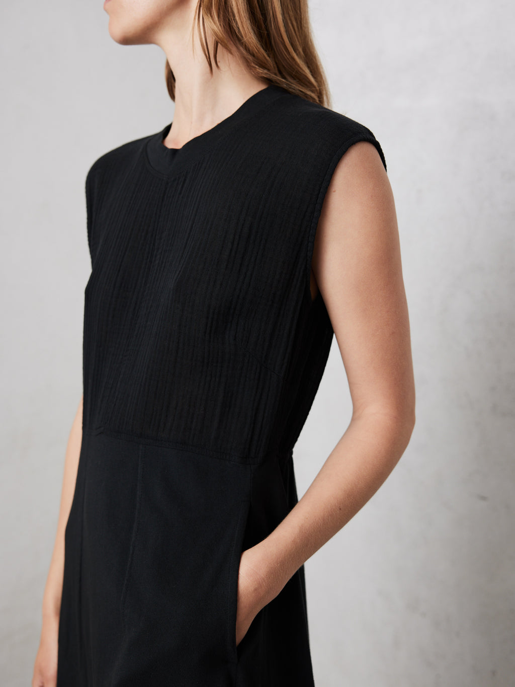 Black Gauze Jersey Medley Meadow Dress