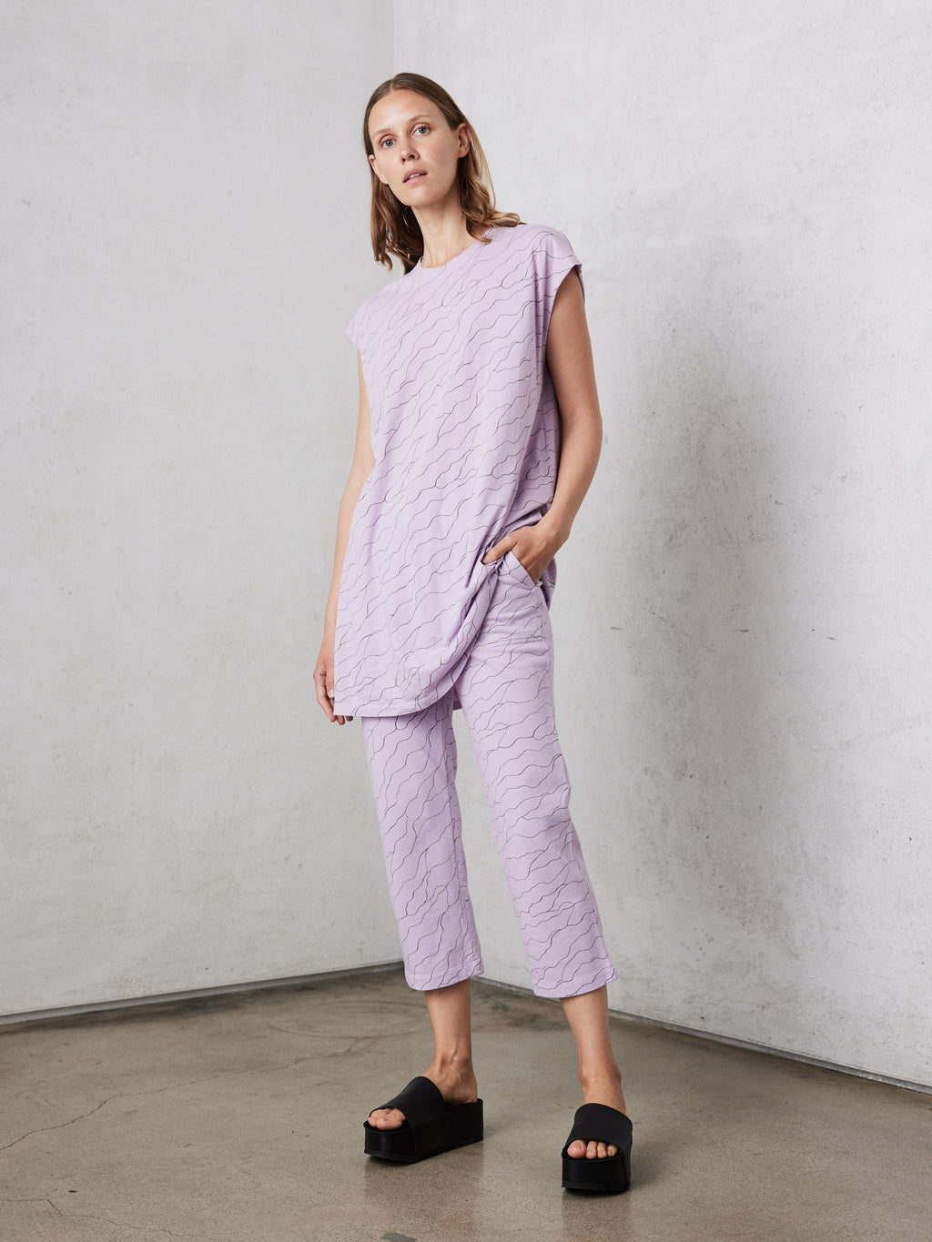 Lavender Waves Cotton Sleeveless T-shirt Dress
