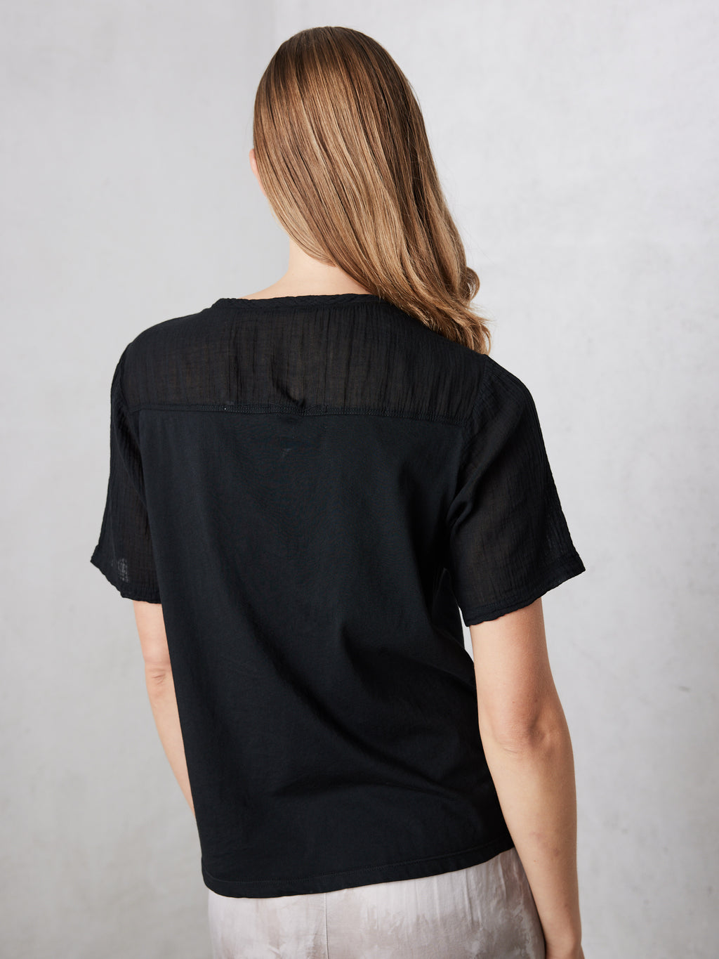 Black Gauze Jersey Medley Football Tee