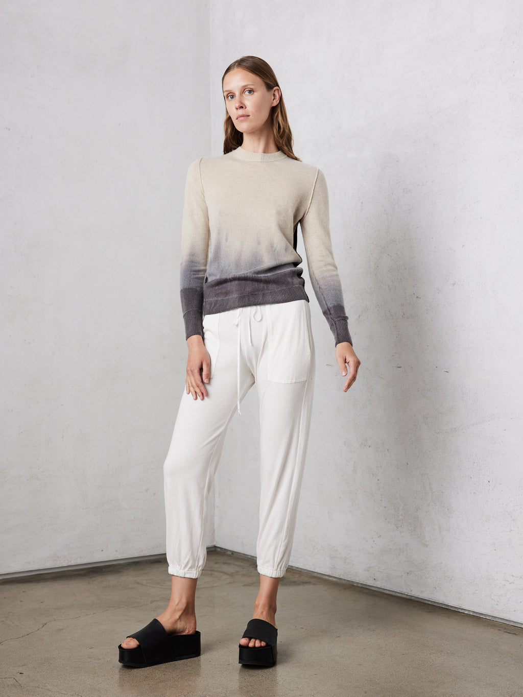 Fog Horizon Colorblock Cashmere Fitted Crew