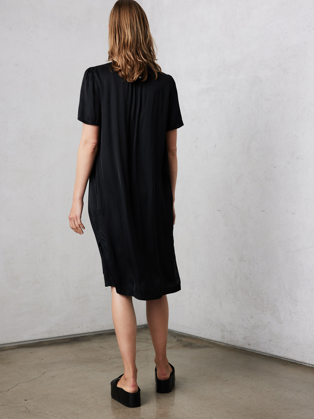 Black Matte Satin  Lilakoi Dress