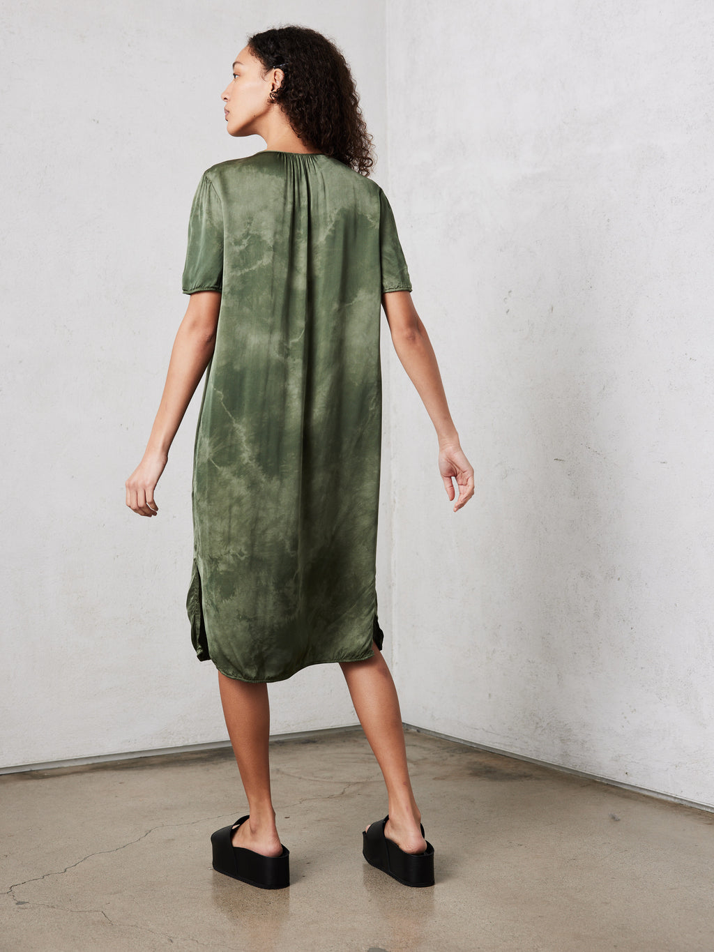 Army Cloudwash Matte Satin  Lilakoi Dress