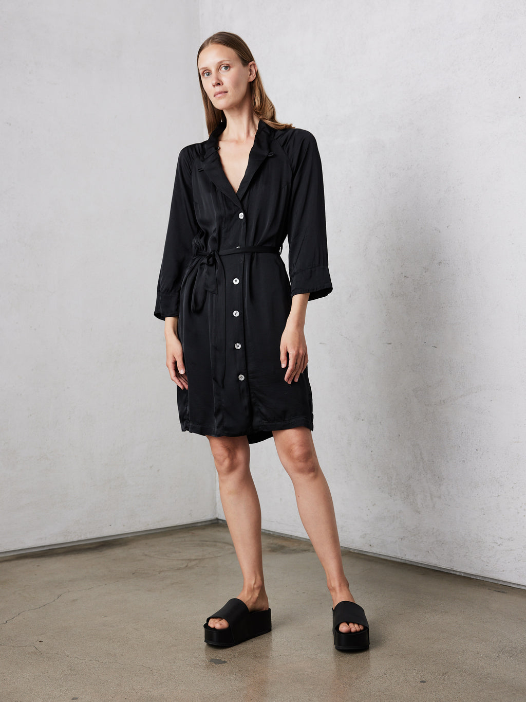 Black Matte Satin  Robe Dress