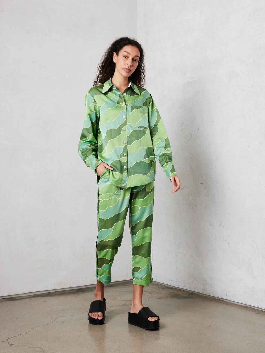 Green Waves Silk Cotton Sateen Button Down Print