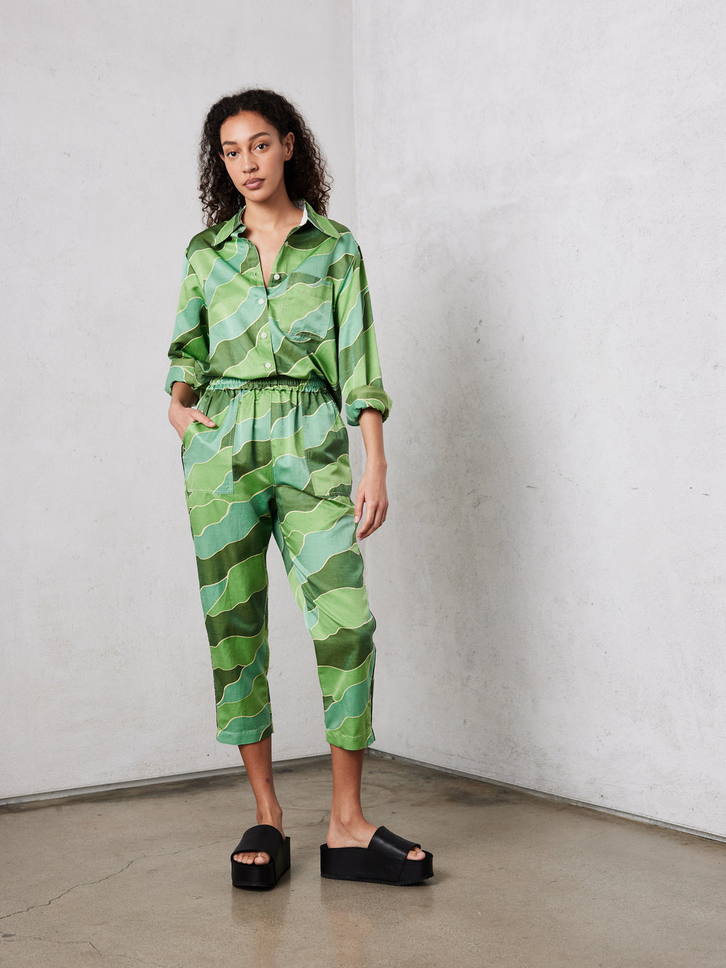 Green Waves Silk Cotton Sateen New Sunday Pant