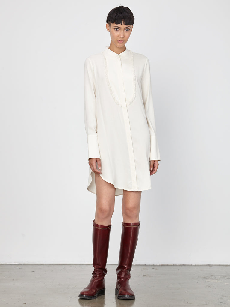 Ivory Washed Silk Poplin Tuxedo Shirt Dress