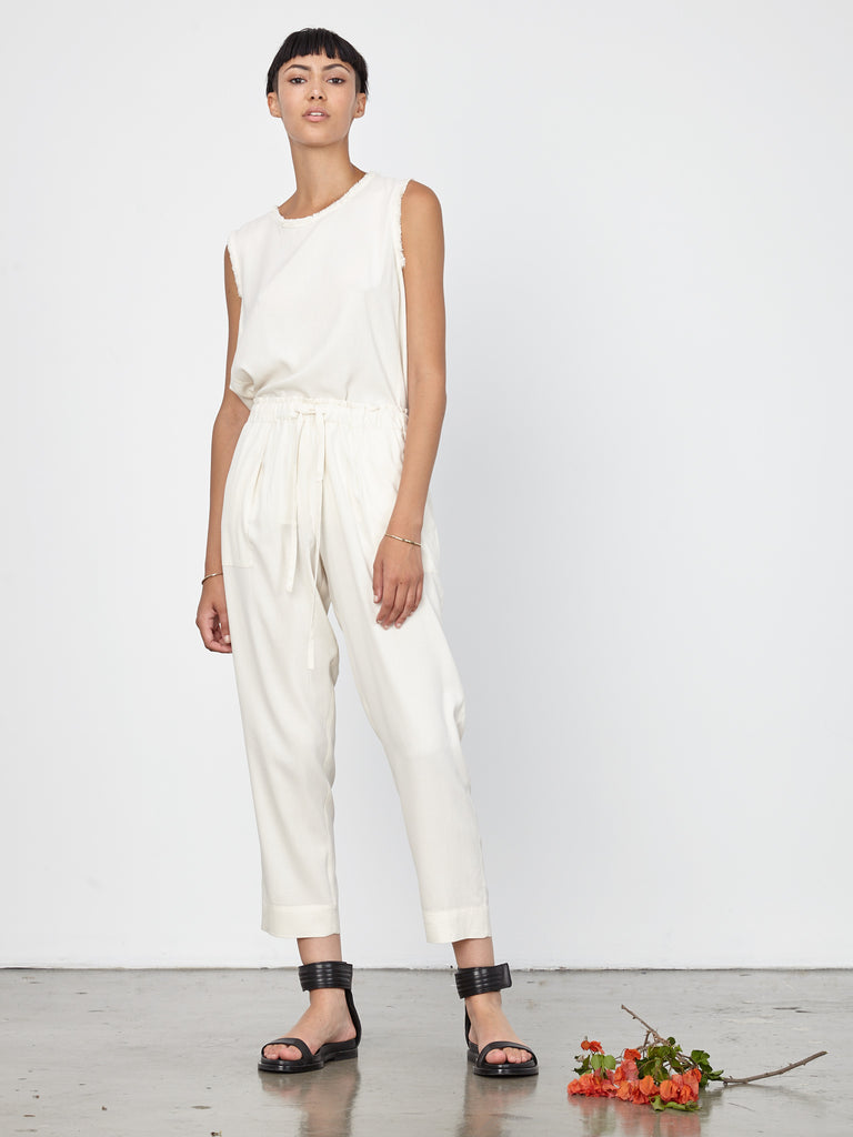 Ivory Washed Silk Poplin Drawstring Pant