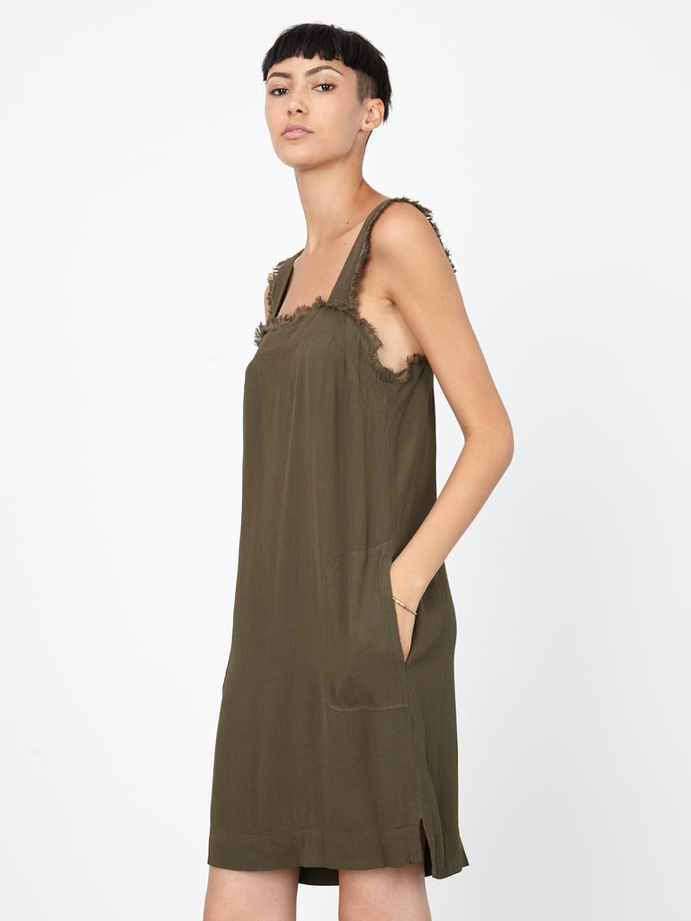 Olive Crepe Mini Tank Dress