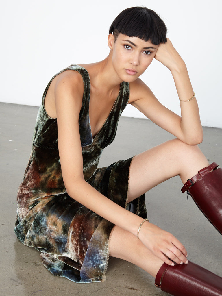 Forest Velvet Tie Dye Tulip Dress