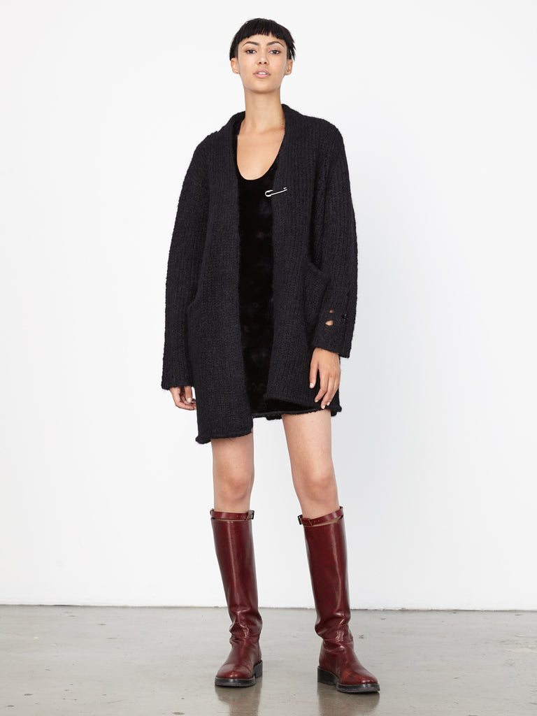 Black Fuzzy Punk Knits Coat