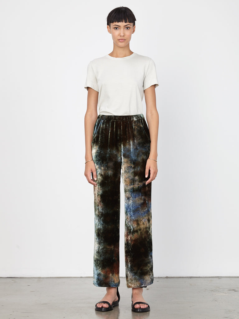 Forest Velvet Tie Dye High Waisted Trouser