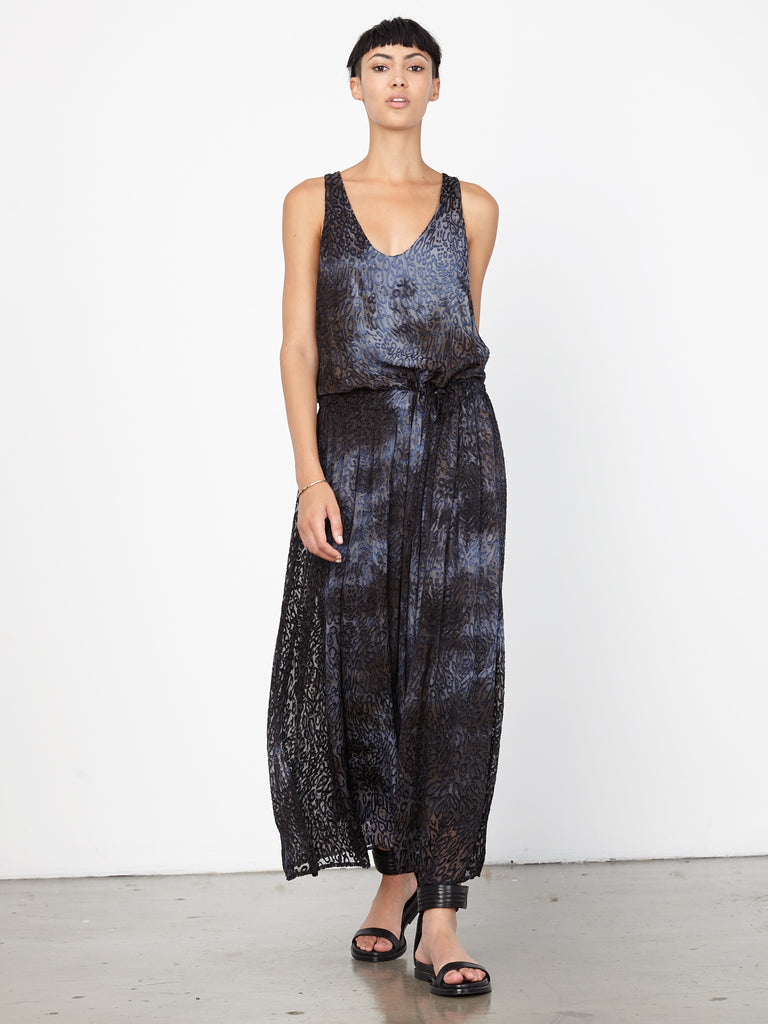 Ink Leopard Devoré Tie Dye Tank Maxi Dress