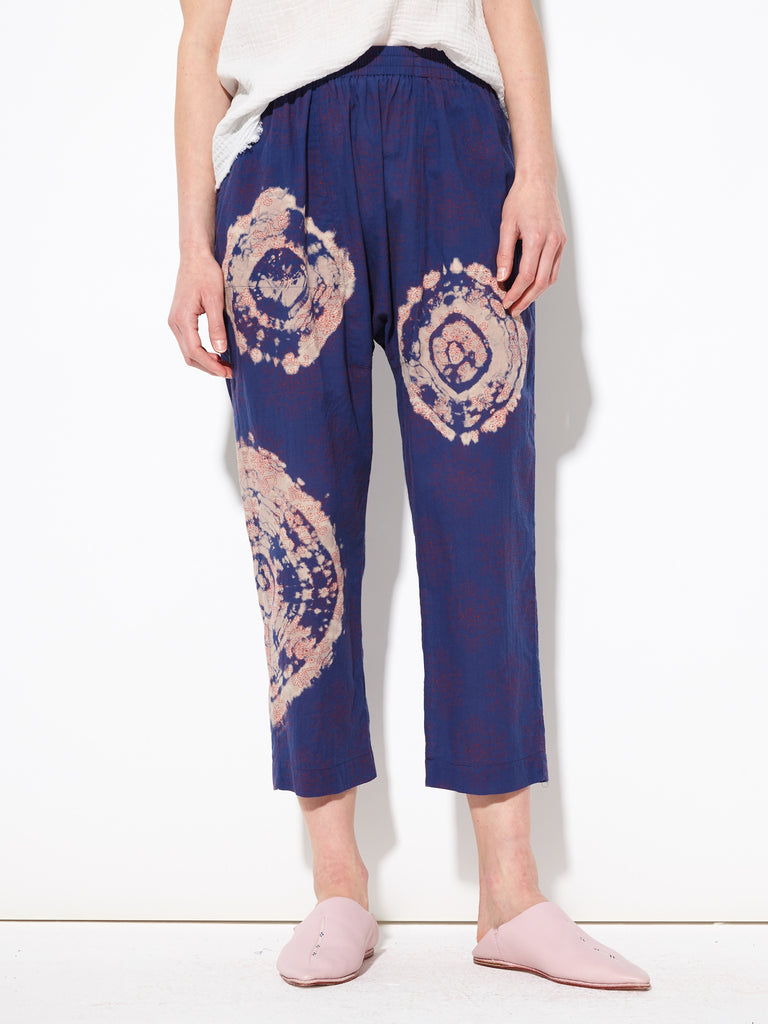 Blue Red Tie Dye Voile Block Print Sunday Pant