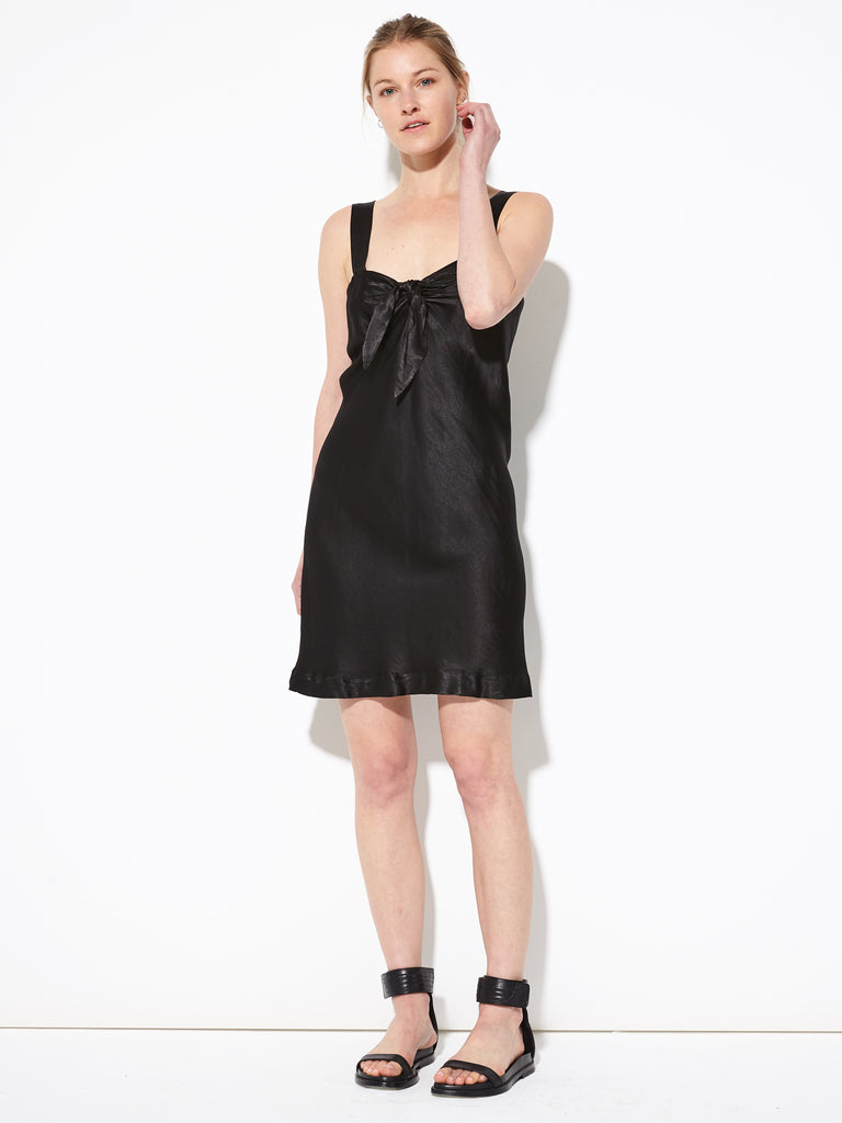 Black Pebble Satin Tie Front Dress