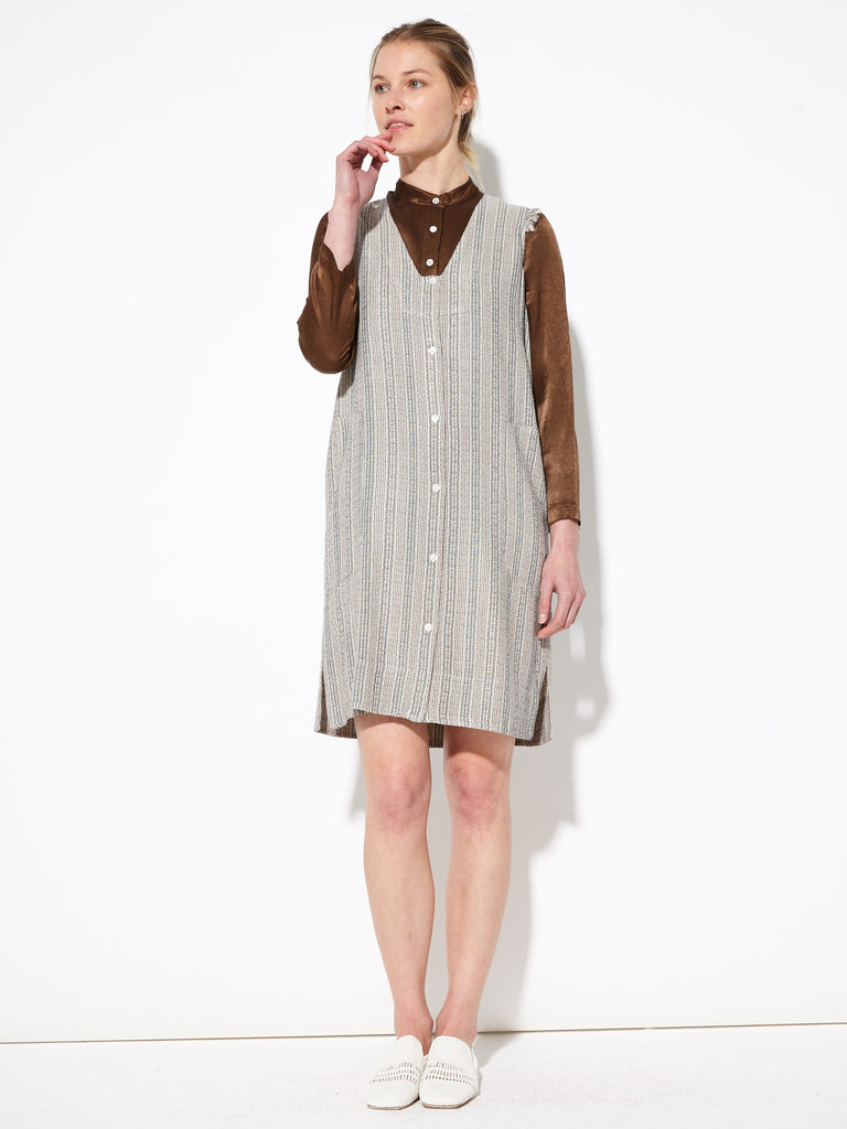 Cream French Stripe Tank Shirt Dress