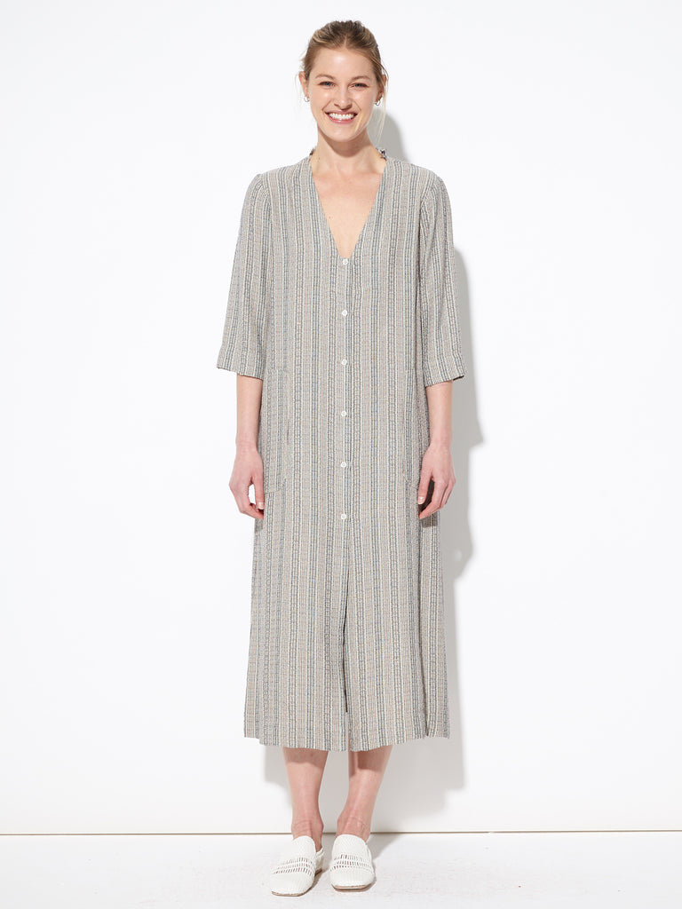 Cream French Stripe Duster Dress