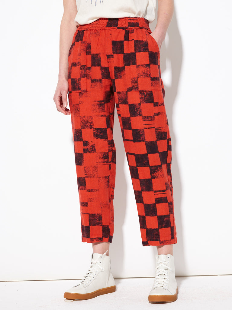 Ruby Checker Printed Linen Pull On Pant