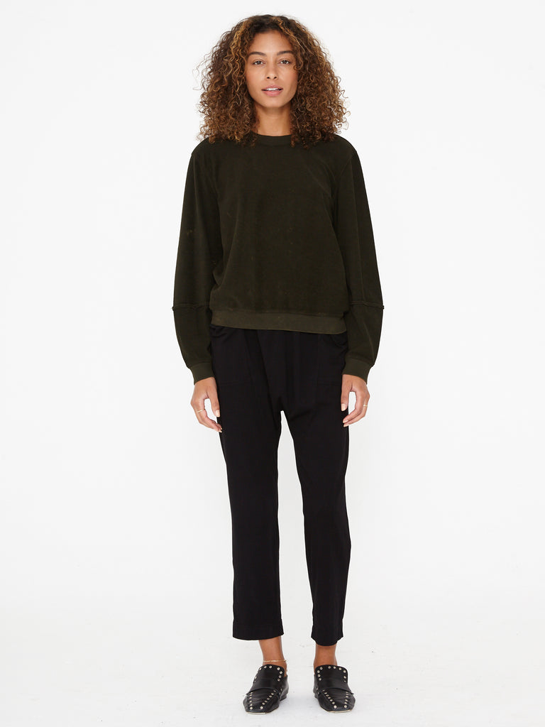 Black Sueded Baby Jersey Relaxed Pant