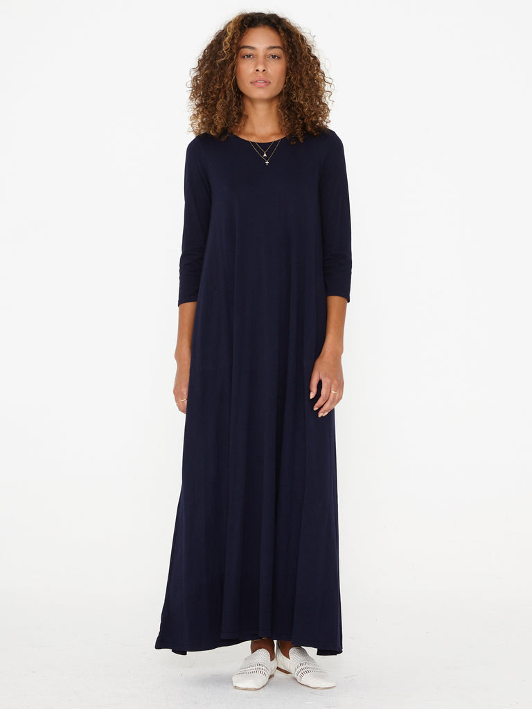 Navy Sueded Baby Jersey Drama Maxi