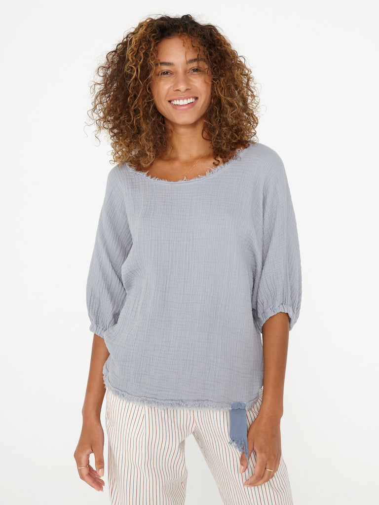 Grey Blue Textured Gauze and Grosgrain Ribbon Dolman Top