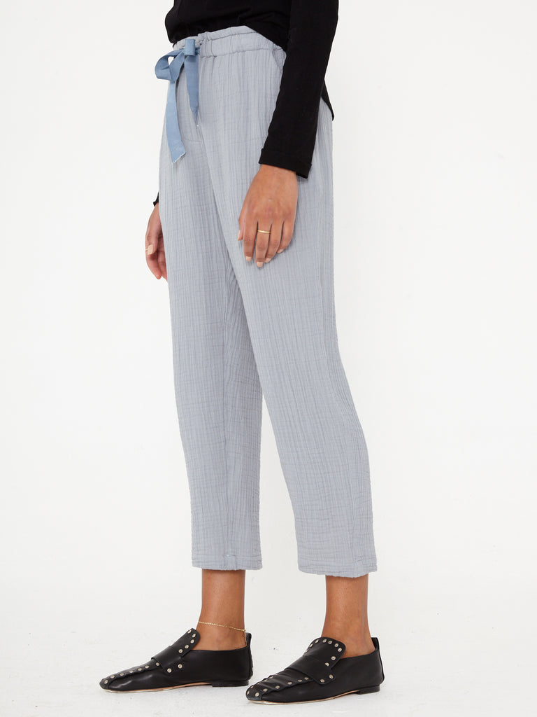 Grey Blue Textured Gauze and Grosgrain Ribbon Slim Drawstring Pant