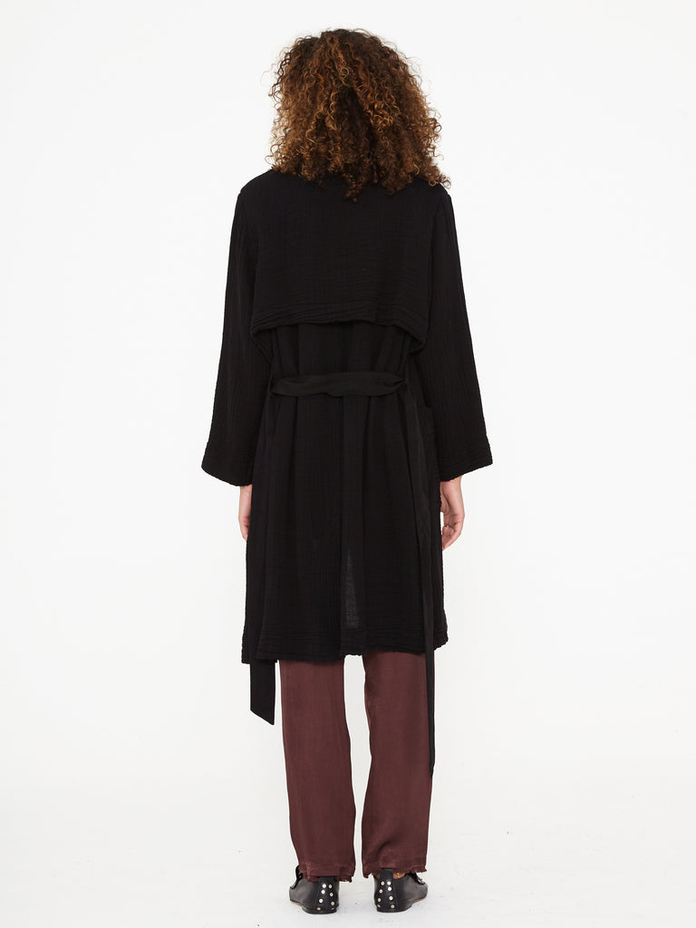 Black Textured Gauze and Grosgrain Ribbon Short Trench
