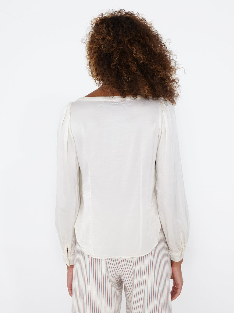 Bone Pebble Satin Gathered Sleeve Blouse