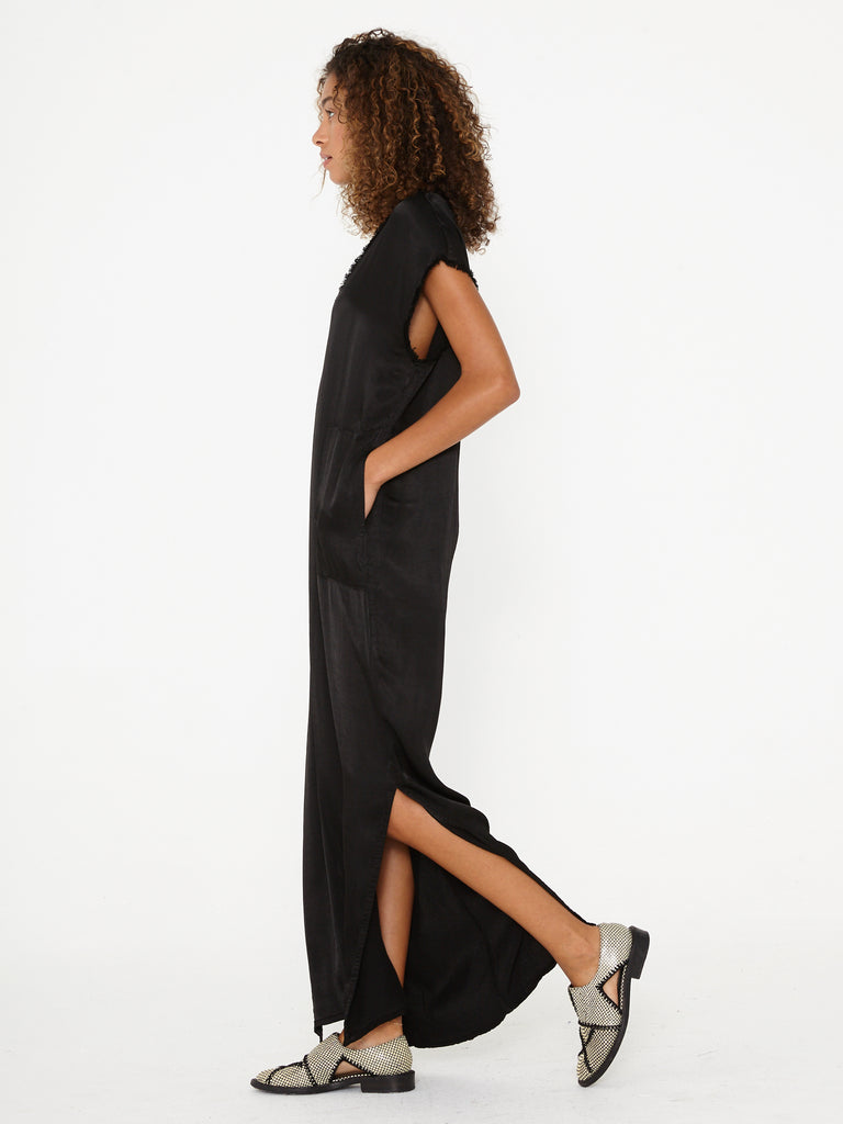 Black Pebble Satin Caftan Dress
