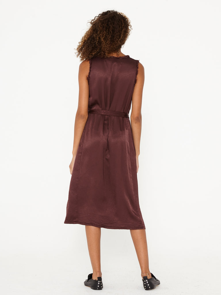 Raisin Pebble Satin Tank Midi Dress