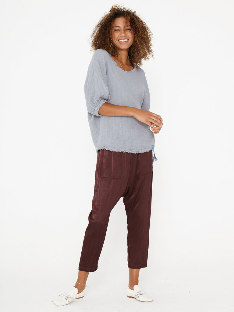 Raisin Pebble Satin Drop Crotch Pant