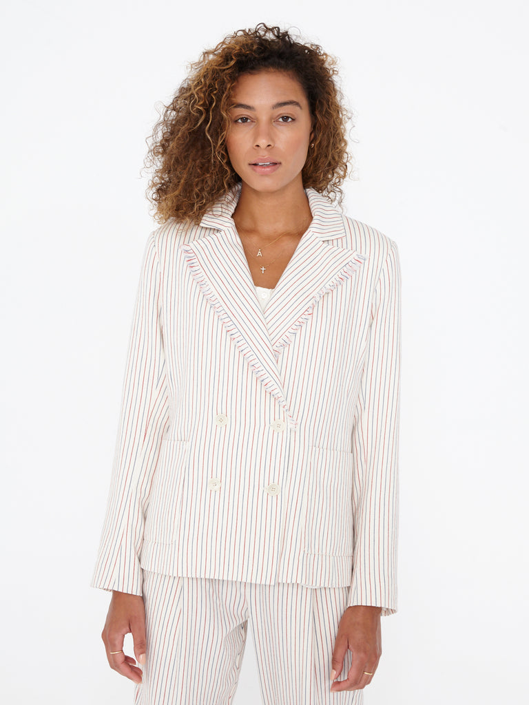 Natural Red Blue Cotton Ticking Stripe Double Breasted Blazer