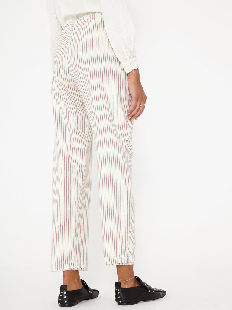 Natural Red Blue Cotton Ticking Stripe High Waisted Slim Pant