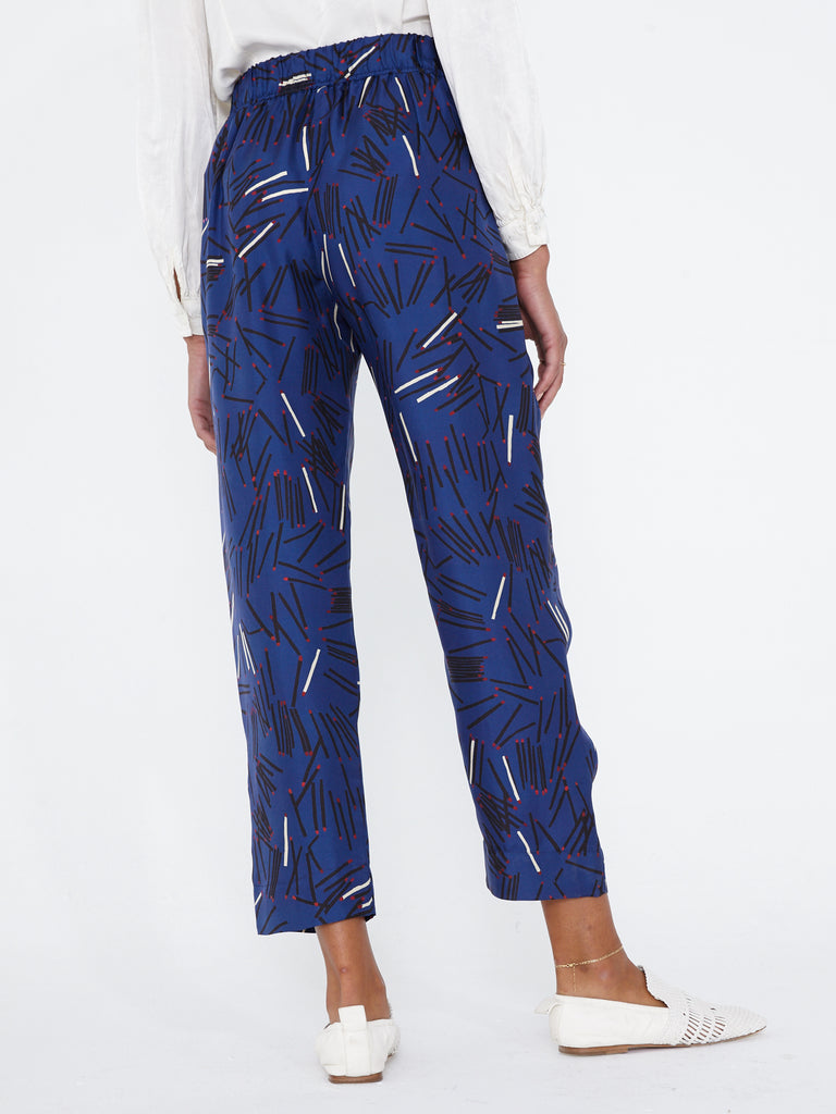 Royal Blue Matchstick Silk Ankle Pant