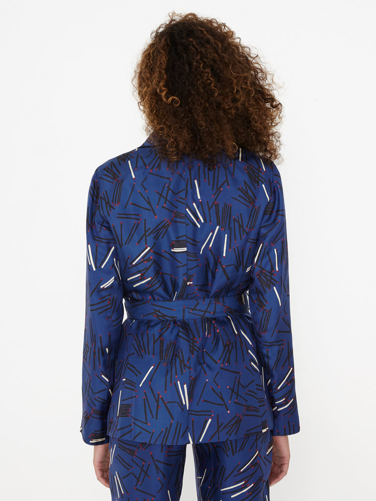 Royal Blue Matchstick Silk Belted Blazer