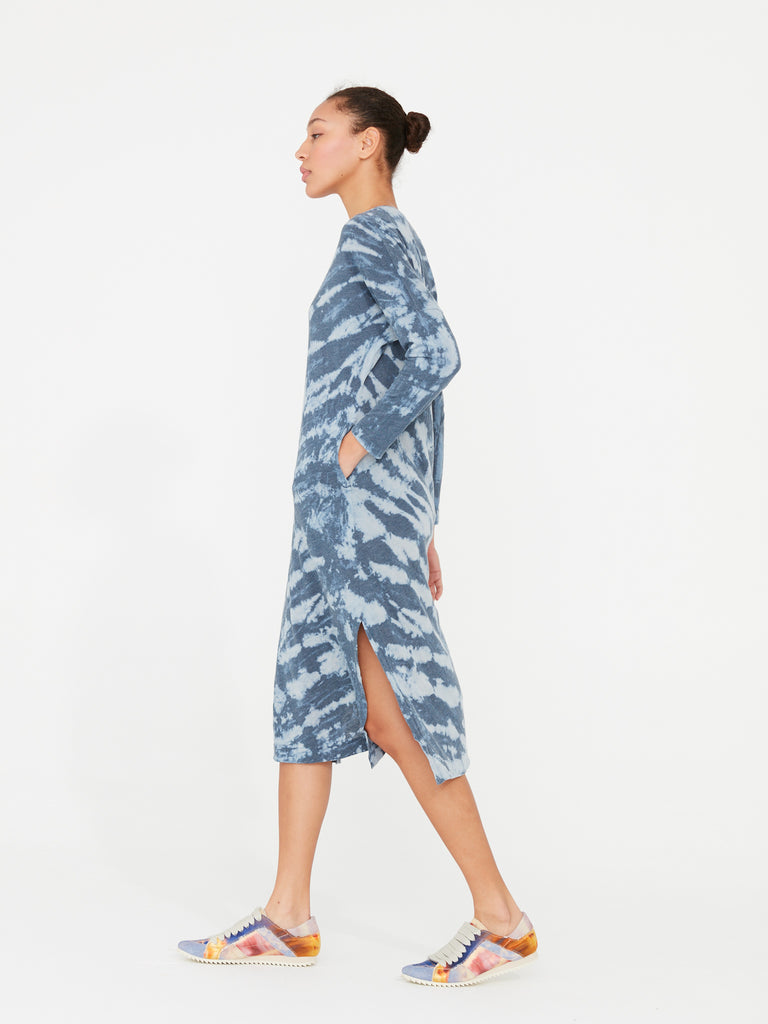 Water Tie Dye Jersey Long Sleeve V-Neck Caftan