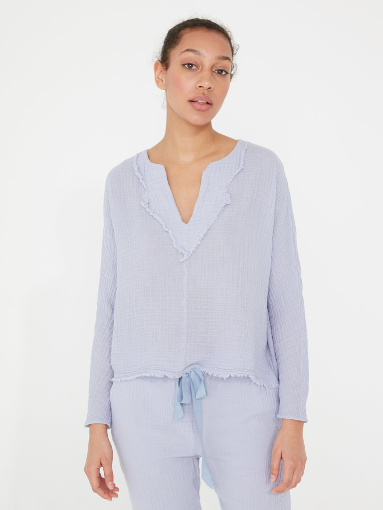 Lilac Gauze Diamond Yoke Pop Over