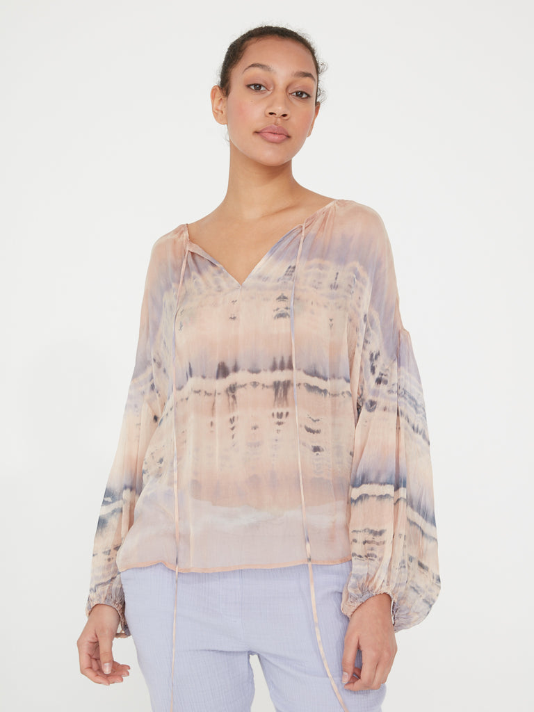 Peach Clouds Silk Tie Dye Shirred Blouse