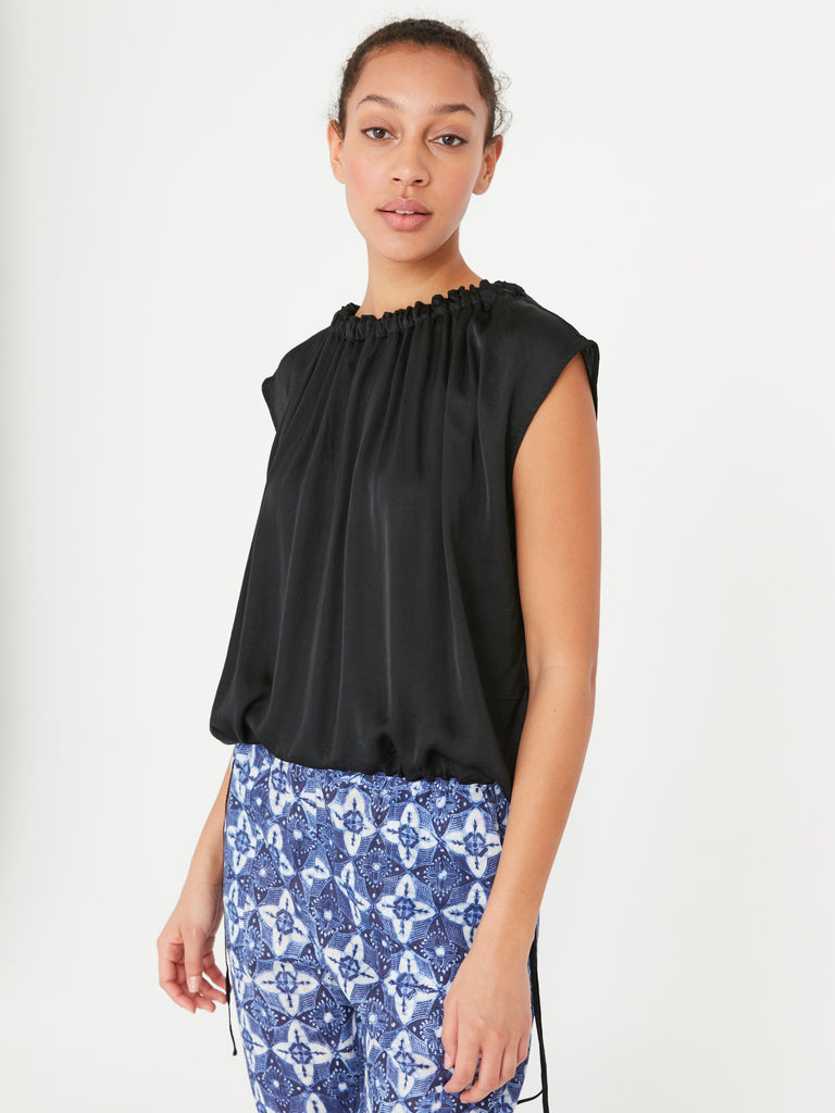 Black Matte Satin Gather Neck Top