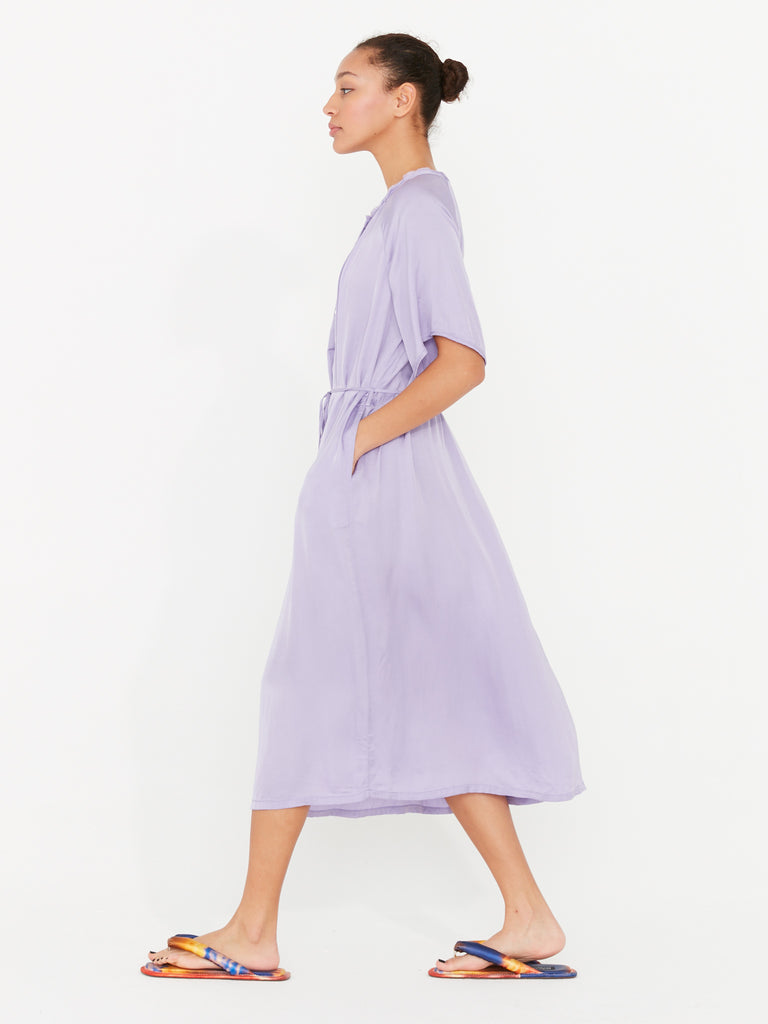 Lilac Matte Satin Flutter Midi Dress