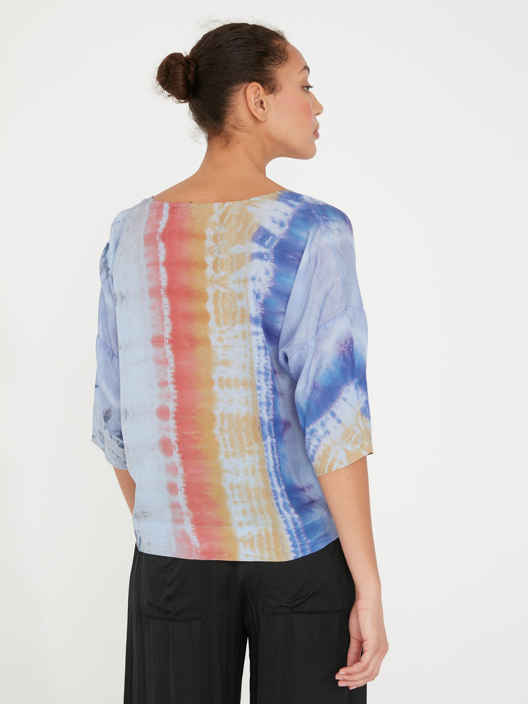 Waterfall Rainbow Silk Tie Dye Pop Over