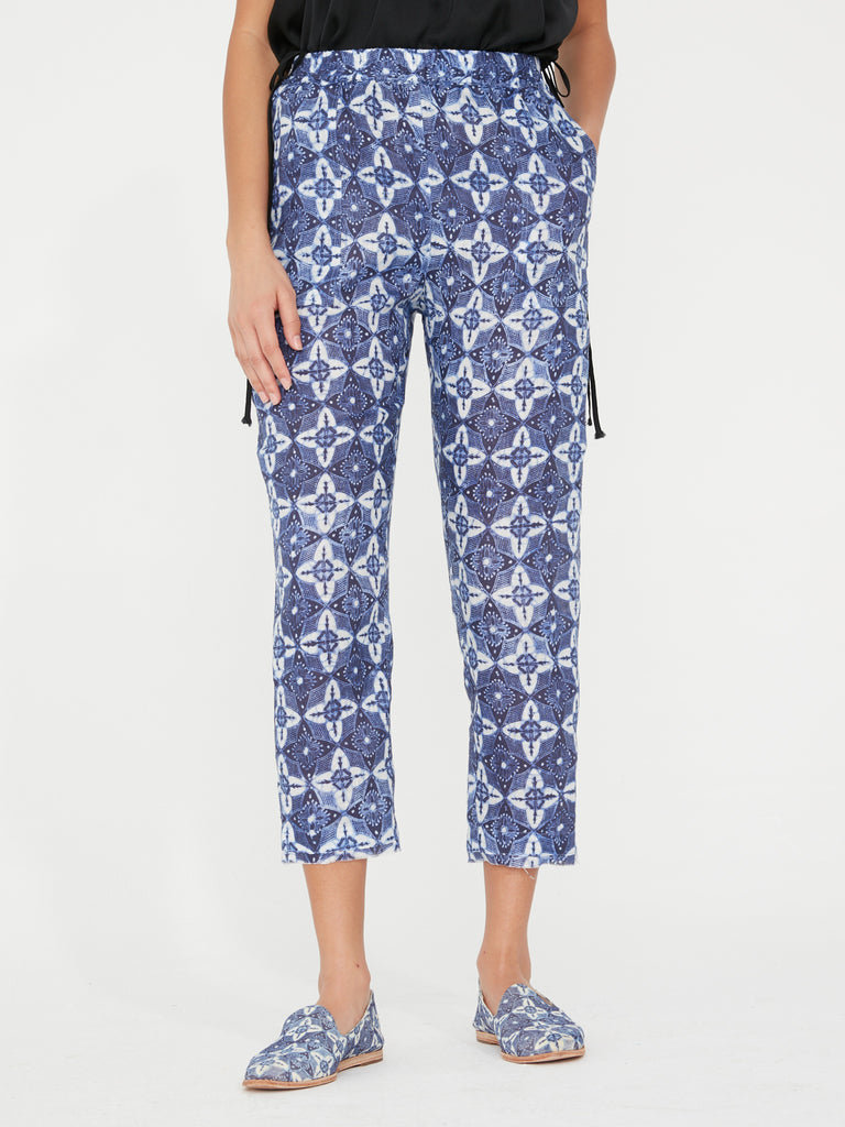 Blues Linen Block Print Pull On Pant