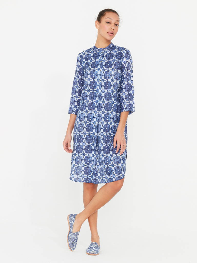 Block Print Tunic Henley Dress