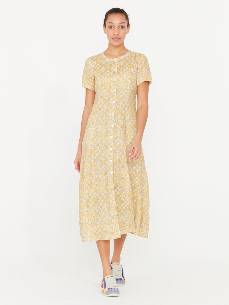 Gold Linen Block Print Big Sweep Dress